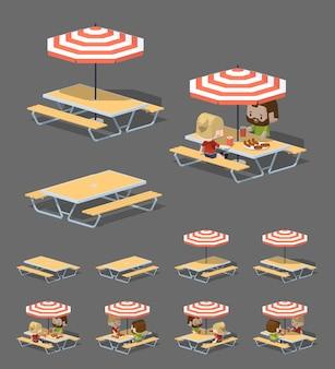 Tavolino basso da caffè in polietilene con ombrellone