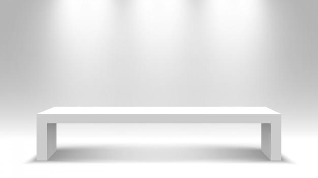 Tavolo bianco in piedi. piedistallo. illustrazione.