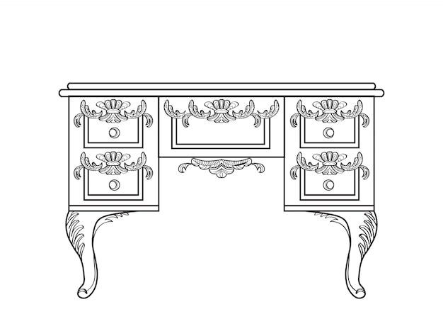 Tavolo da salotto con ornamenti di lusso. vettore francese struttura ricca di lusso di intricato. decorazione di stile reale vittoriano