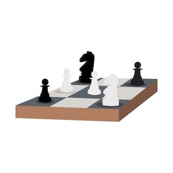 Tavolo degli scacchi illustrazione vettoriale piatto cavaliere e pedone