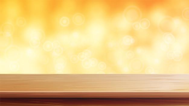 Tavolo in legno con luci sfocate