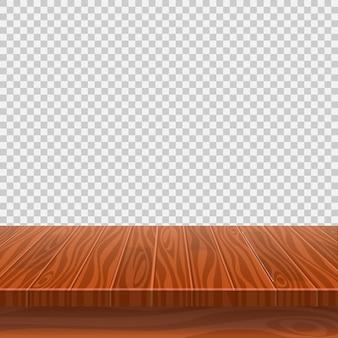 Tavolo vuoto prospettico in legno per posizionamento o montaggio di prodotti con focus sul piano del tavolo, con sfondo trasparente isolato.