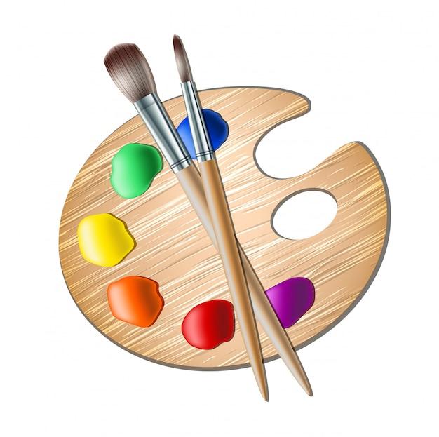 Tavolozza artistica con pennello per pittura
