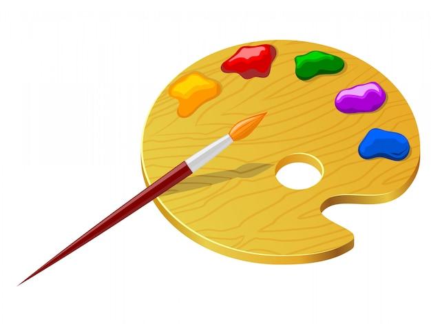 Tavolozza con colori e pennello