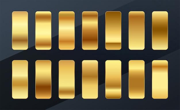 Tavolozza di campioni di gradienti dorati premium scenografia