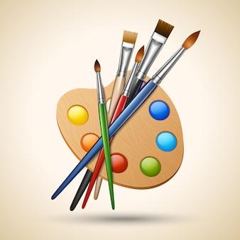 Tavolozza di colori artistici con strumenti per disegnare il pennello