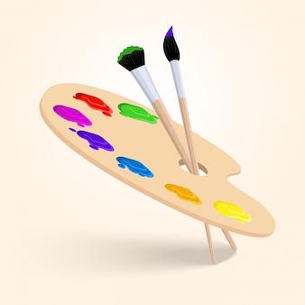Tavolozza di colori d'arte con pennelli strumenti di disegno isolato su sfondo bianco illustrazione vettoriale