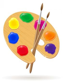 Tavolozza per vernici e illustrazione vettoriale pennello