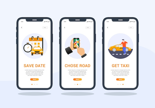 Taxi app set di design dell'interfaccia utente mobile schermo onboarding