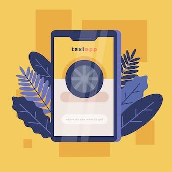 Taxi app su smartphone con foglie