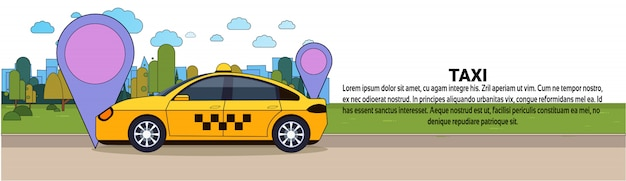 Taxi car con gps location registrati online cab service concept banner orizzontale modello