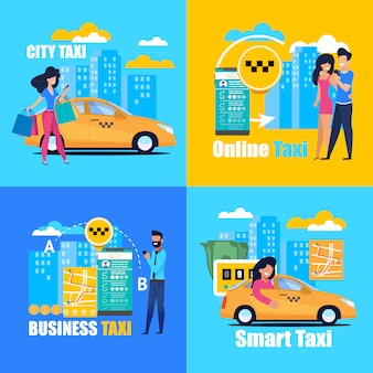 Taxi di città online smart business. poster quadrato.