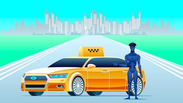 Taxi di intelligenza artificiale con robot driver.