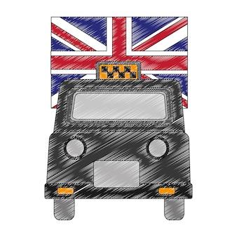 Taxi di londra con icona isolata bandiera