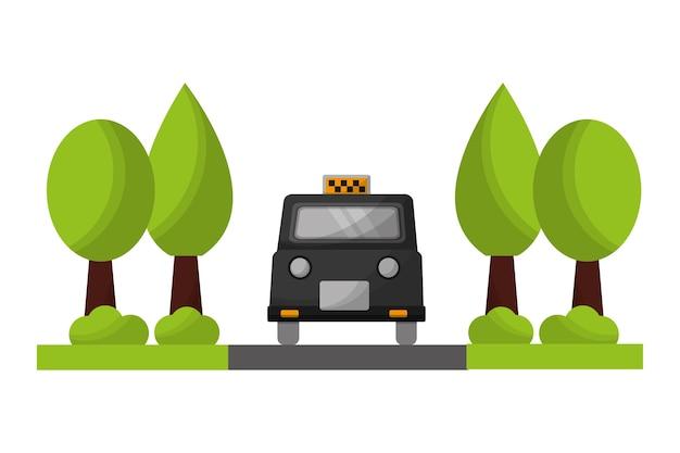 Taxi di londra con progettazione dell'illustrazione di vettore delle piante degli alberi
