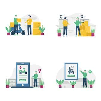 Taxi motor online consegna passeggeri e consegna merce illustrazione,