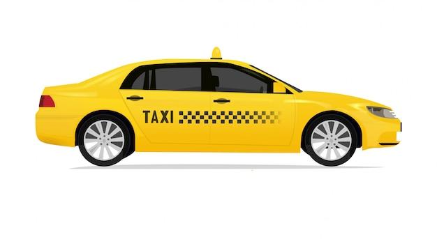 Taxi vista laterale con vettore di ritocco realistico