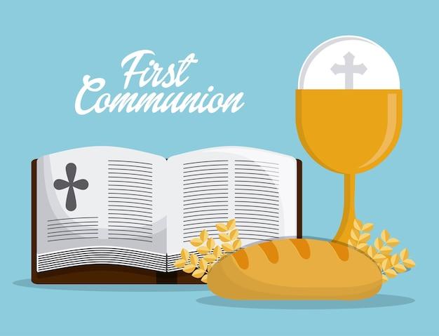 Tazza bibbia pane icona religione oro