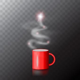Tazza da caffè rossa con albero di natale fatto di vapore.