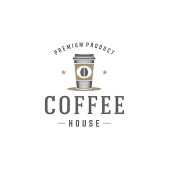 Tazza del modello di logo della caffetteria con la siluetta del fagiolo con la retro illustrazione di vettore di tipografia