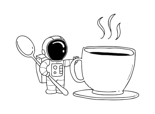 Tazza di caffè astronauta