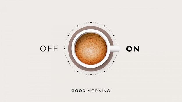 Tazza di caffè con acceso e spento