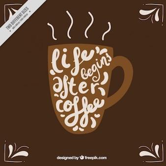Tazza di caffè con ispirazione frase sfondo
