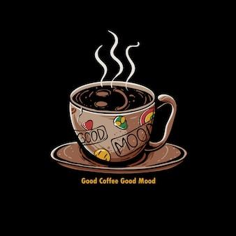 Tazza di caffè con l'illustrazione di emoji di sorriso