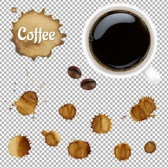 Tazza di caffè con le macchie impostate