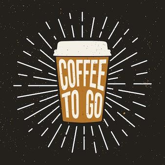 Tazza di caffè in carta con effetto testo e grunge.