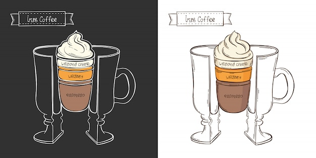 Tazza di caffè irlandese. infografica