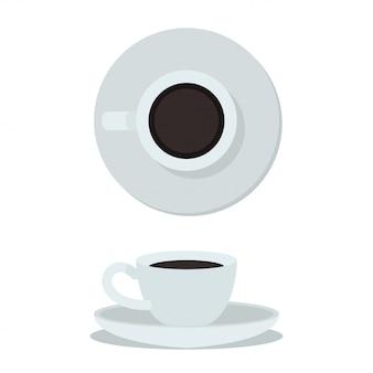 Tazza di caffè isolata. tazza di caffè bianco vista dall'alto e laterale. illustrazione vettoriale tazza di caffè