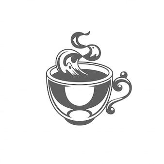 Tazza di caffè o tè con illustrazione vettoriale di vapore.