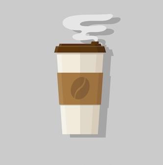 Tazza di caffè piatta astratta