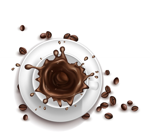 Tazza di caffè realistica 3d con spruzzatura