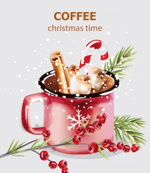 Tazza di caffè tempo di natale con caramelle e decorazioni natalizie
