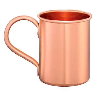 Tazza di metallo. coppa turistica in rame. caffè, boccetta del tè