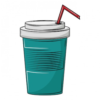 Tazza di soda con paglia