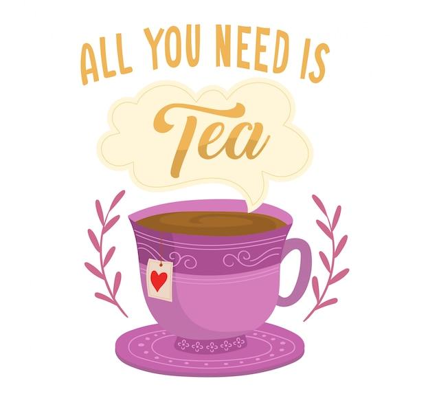 Tazza di tè con fumetto