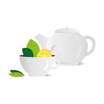 Tazza di tè con l'illustrazione piana di vettore bianco della teiera del limone