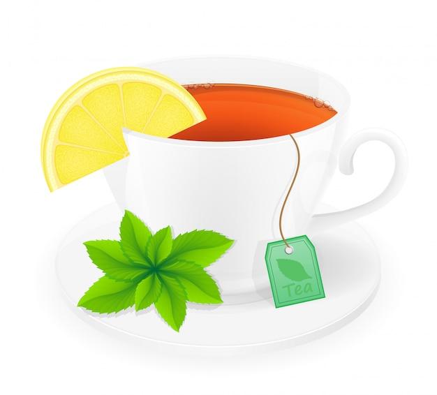 Tazza di tè in porcellana con limone e menta illustrazione vettoriale