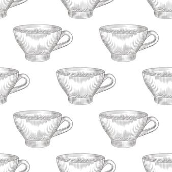 Tazza disegnata a mano del modello senza cuciture del tè su fondo bianco. incisione in stile vintage.