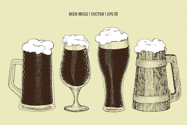 Tazza disegnata a mano della bottiglia di birra di ector, tazza, vetro. set di illustrazione. retro