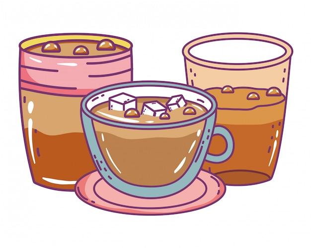 Tazza e tazza di caffè isolate