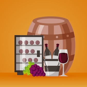 Tazza e uva del frigorifero del secchiello del ghiaccio delle bottiglie di vino
