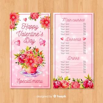 Tazza piena di fiori modello di menu di san valentino
