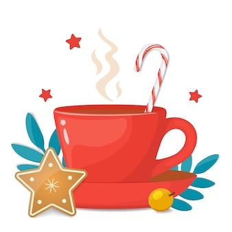 Tazza rossa con biscotto di natale a forma di stella, bastoncino di zucchero duro a strisce e decorazioni natalizie. illustrazione vettoriale