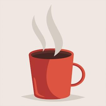 Tazza rossa di caffè caldo.