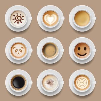 Tazze di caffè. la vista superiore americana del latte del cappuccino della mattina calda realistica beve le illustrazioni