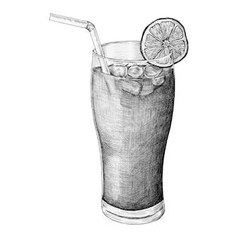 Tè freddo al limone disegnato a mano